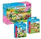 Geobra Brandstätter Playmobil 70608 - Juego de 3 figuras de pastor con animales + 70060 niña con pony y 70252 veterinaria con ternera