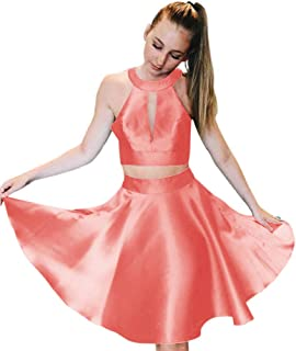 JONLYC A-Line Halter Satin 2 Piece Short Homecoming Dresses Evening Gowns