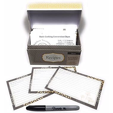91 Piece Recipe Box and Card Bundle Set - Yellow and Grey. The Perfect Recipe Card Holder.