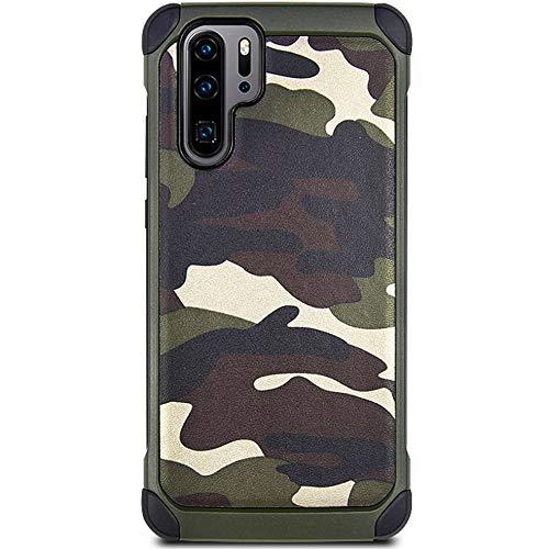 3-IN-1 Huawei P30 Pro Camouflage Mehrfachschutz Hüll + 9H Panzerglas + Ringhalter Stoßfest Anti-Kratzer 360-Grad Schutzhülle Handyhülle mit 4 Airbags für Huawei P30 pro,6.47zoll,Grün