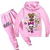 Sudadera con capucha y pantalón para niña de la marca N/A LOL con una adorable muñeca OMG Rosa4. Tal...