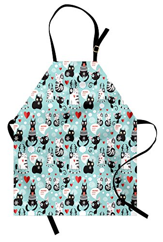 Ambesonne Cat Lover Apron, Black and White Cats in Love Meow Print Among Hearts Daydreaming Kitties Cat Ears, Unisex Kitchen Bib with Adjustable Neck for Cooking Gardening, Adult Size, Pale Blue