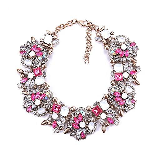 ZCPCS Nuevo 2021 Indio Declaración Gargantilla Collar Mujeres Lujo Cristal Rhinestone Big Bib Collar Femme Boho Étnico Collar Grande Collar (Metal Color : Rose)