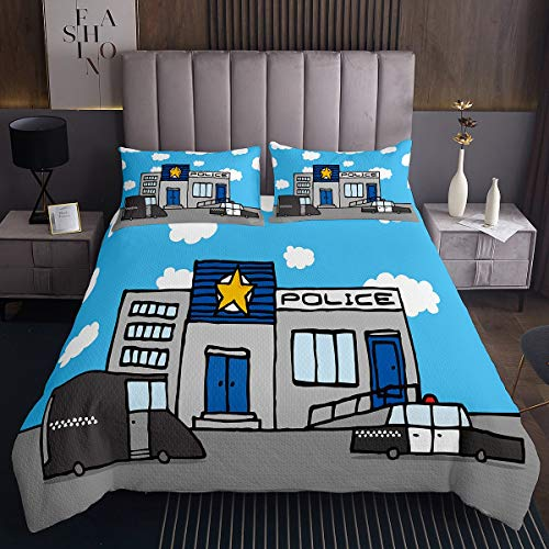 Tbrand Kids Police Station Bedspread Children Cartoon Police Cars Quilted Coverlet for Boys Girls Cute Police Theme Coverlet Set Blue White Coulds Quilted Room Decor Bedding Collection Single Size