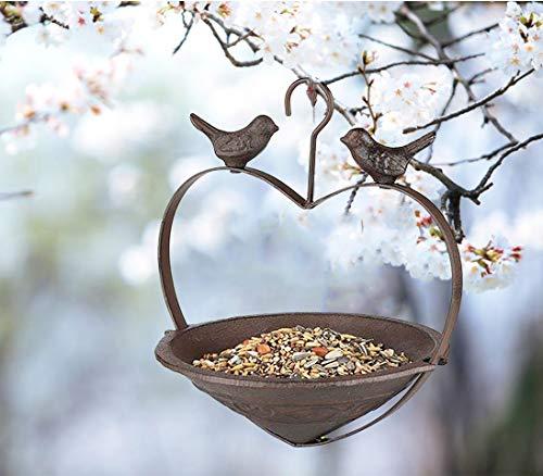 GEEZY Rustic Heavy Duty Cast Iron Hanging Bird Feeder Birdbath Bird Feeding Station in Heart Shape