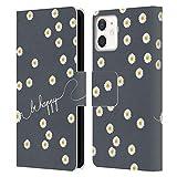 Head Case Designs Licenza Ufficiale Monika Strigel Grigio Margherite Felici Cover in Pelle a Portafoglio Compatibile con Apple iPhone 12 Mini