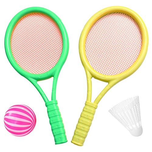 TOYANDONA 1 conjunto de raquete de tênis infantil de plástico, badminton, raquete de tênis, bolas com 2 bolas para praia, jardim, esportes ao ar livre, brinquedo (cor aleatória)