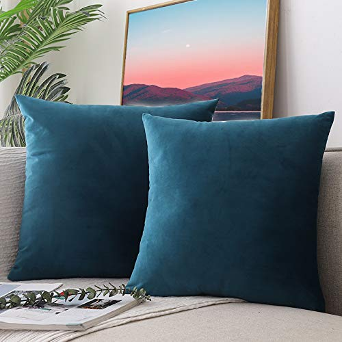 CCRoom Cushion Covers,Pack 2 of Decorative Throw Pillow Covers in Velvet Square Cushion Cases with Concealed Zip 18' x 18' 45cm x 45cm(Peacock Blue)