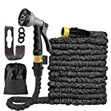 XKXZJ 50FT Expandable Garden Hose- Upgraded Flexible & Retractable Water Hose Black