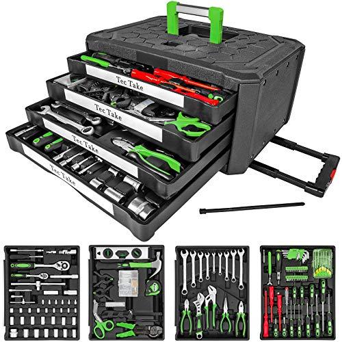 TecTake 610 teiliger Werkzeugkoffer mit 4 Schubladen | Werkzeug bestückt