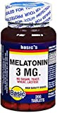 Basic Vitamins Melatonin 3 mg Tablets - 200 ct, Pack of 2