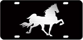JASS GRAPHIX Tennessee Walking Horse License Plate Brushed Aluminum on Black 2-D Heavy Duty Car Tag