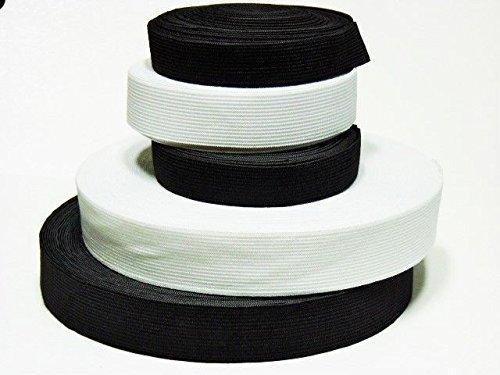 Gummiband 3 m Kleidung und Haushalt DIY Handwerk 3 Meter, 2 cm Breit in Schwarz oder Weis (Weis)