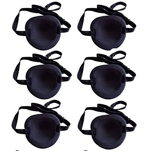 Limeow Medizinische Augenmaske Amblyopie Augenklappen Ein Augenklappe Medizinische Strabismus Eye Augenklappen Schwarze für Kinder Erwachsener Augenklappe Verstellbare Augenmaske 6 Stücke(A)