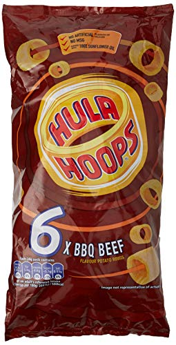 Hula Hoops BBQ Beef Flavour Potato Rings, 6x24g