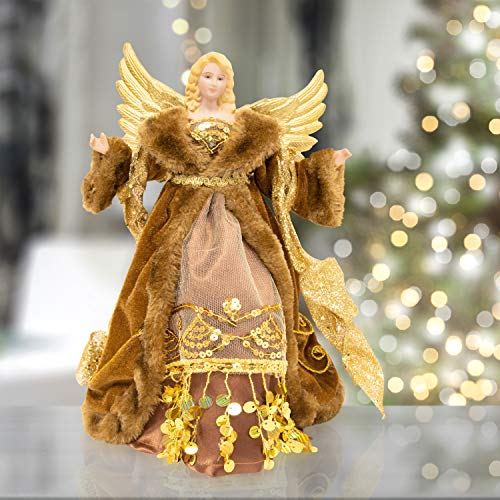 "The Christmas Workshop Copper & Gold 81840 Angel Tree Topper | 12"" Tall Coloured 