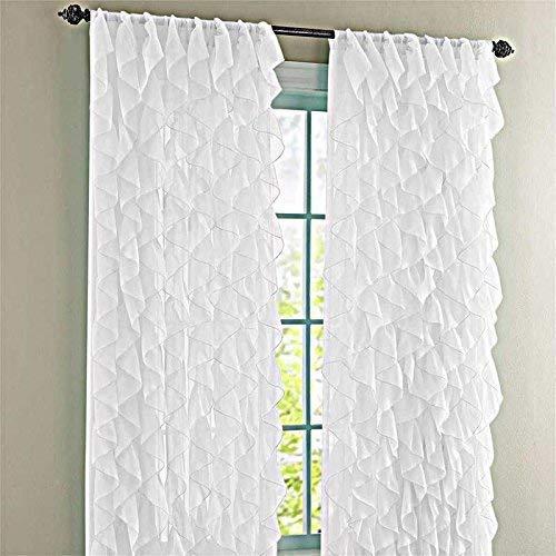 "Lorraine Home Fashions Cascade White 50"" W X 84"" L Shabby Chic Sheer Ruffled Curtain Panel"