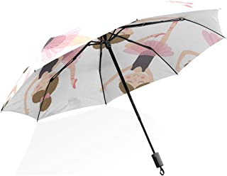 EnnE Umbrella Pink and Purple Stars Compact Travel Umbrella Rain Windproof