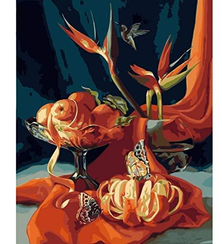 zxsl Orange Papillon Oiseau Nature Morte Bricolage Peinture à l'huile par numéros sur Toile Europe décoration Photo pour Salon 40X50CM, encadré
