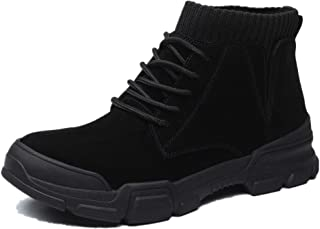 2019 Mens New Lace-up Flats Mens Ankle Boots For Men Military Boots Lace Up Leather Round Toe Anti-slip Round Toe Socks Collar (2.5cm Elevator Optional) Comfortable ( Color : Black , Size : 7 UK )
