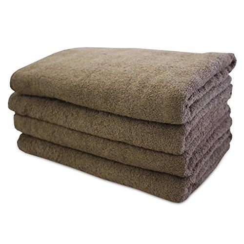 【洗い替え便利な】 業務用 綿 100% カラー 大判 バスタオル 4枚組 ブラウン(70×130cm)