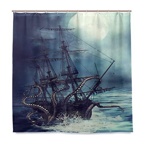 Doshine Wasserdichter Duschvorhang, Ozean, Schiff, Oktopus, Mond, dekorativer Polyesterstoff, mit 12 Haken, 182,9 x 182,9 cm