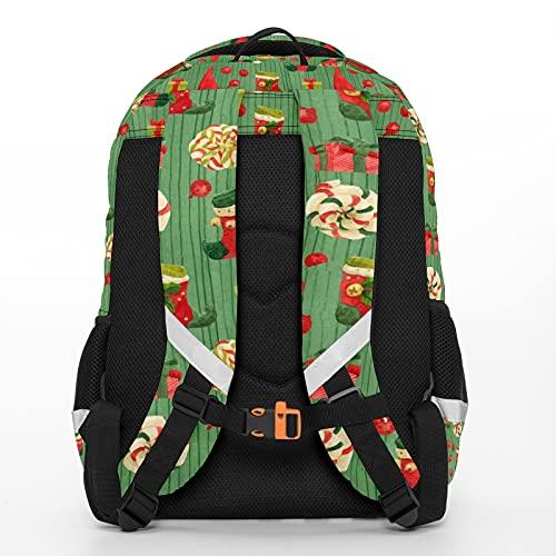 Mochila para niños unisex de dibujos animados para estudiantes escolares impermeable Preppy Pack Bag Cute Christmas Elfos Verde - Medias Lollipops
