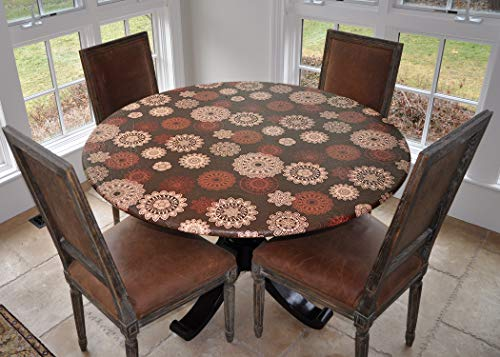 Covers For The Home Deluxe Elastic Edged Flannel Backed Vinyl Fitted Table Cover - Medallion Pattern - Large Round - Fits Tables up to 45' - 56' Diameter