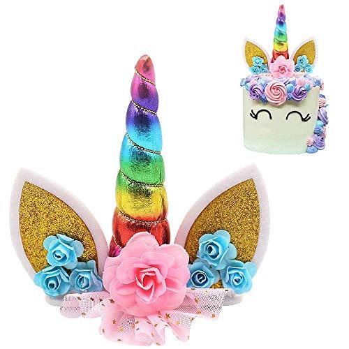 Unicorn Cake Topper Handmade Unicorn Horn Ears and Flowers Set Birthday Cake Decor(Gold)