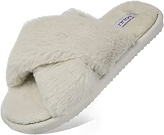 Fuzzy House Slippers for Women Cross Band Open Toe Fluffy Bedroom Shoes