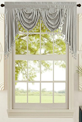 All American Collection New Attached Solid Faux Silk Double Waterfall Valance with Tails (55' x 32', Silver Valance)