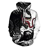 TAKUSHI HF Unisex Fashion Galaxy 3D Digital Printed Pullover Hoodies Hooded Sweatshirts for Sport and Party (Venom, 2XL/3XL)