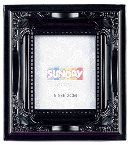 Unbekannt Mini Barock Bilderrahmen schwarz für Fotos bis 6,5 x 7,3 cm, Außenmaße: ca. 11 x 11 x 2,5 cm, Material: Polyresin, im Retro-Kitsch-Design und Vintage-Look,