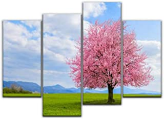 4 Panel Canvas Pictures lonely japanese cherry sakura with pink flowers in spring time on Home Decor Gifts Canvas Wall Art...