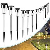 AUSHEN Solar Lights Outdoor Solar Garden Lights Stainless Steel LED Solar Pathway Lights,Waterproof
