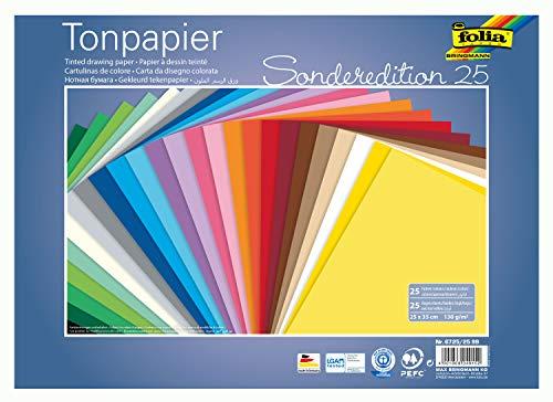 folia 6725/25 99 - Tonpapier Mix, 25 x 35 cm, 130 g/qm, 25 Blatt sortiert in 25 Farben - ideale Grundlage für vielseitige Bastelarbeiten