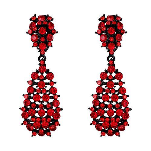 EVER FAITH Mujer Cristal Austríaco Ahuecado Lágrima Cierre de Clip Pendientes Colgante Rojo Tono Negro