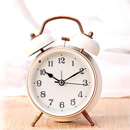 yywl Despertador para cama infantil, campana grande, de metal, pequeño, con cinturón, linterna en los ojos, reloj despertador, reloj de escritorio