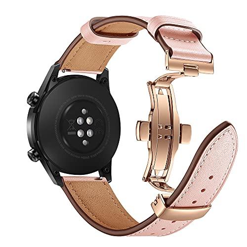 AISPORTS Compatible con Huawei Watch GT2 Correa de piel auténtica de 46 mm, 22 mm, liberación rápida, correa de repuesto para Huawei Watch GT 2 Pro/GT 2e/GT 2 46 mm/GT