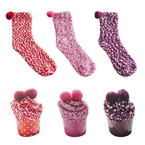Dehots Damen Mädchen Socken Cupcakes Design Haussocken Warme Flauschig Weiche Dicke Weihnachtssocken mit Geschenkbox für Frauen Weihnachtsgeschenk, # 02 - 3 Paare, für Frauen
