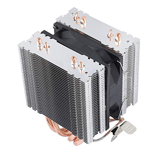 Ventilador de refrigeración de CPU de 3,5 x 3,5 x 1,0 pulgadas, disipador de calor con 4 tubos de calor para LGA 1155/1156/1366, ventilador de radiador de tubo de calor en forma de U con(azul)