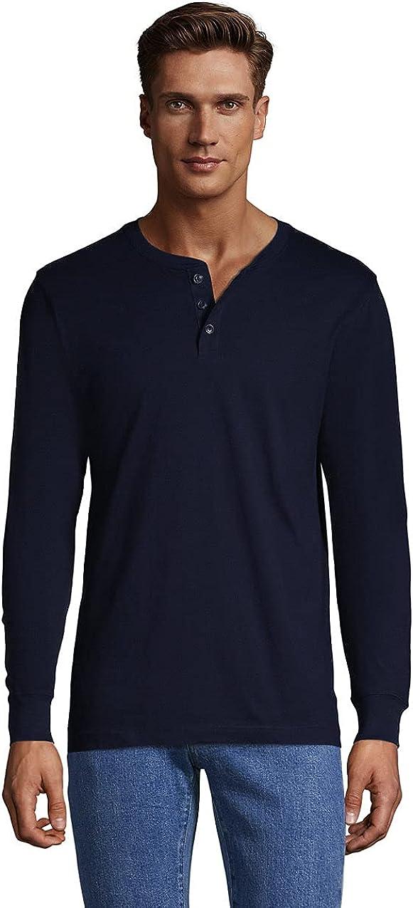 Lands' End Men's Super-T Long Sleeve Henley Shirt