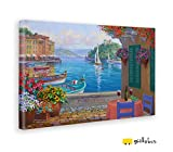 Giallobus - Quadro - Stampa su Tela Canvas Mikki SENKARIK - Quadro con Paesaggio Portofino Reflections - Quadri Moderni di Tela - Vari Formati - 70 x 100 CM