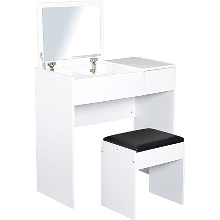 HOMCOM Coiffeuse Table de Maquillage Design Contemporain 80L x 40l x 79H cm Miroir escamotable, tiroir, Coffre + Tabouret Noir