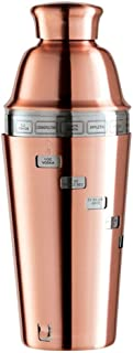 Oggi Dial-A-Drink Copper Plated 34 Ounce Cocktail Shaker featuring 15 Classic Recipes