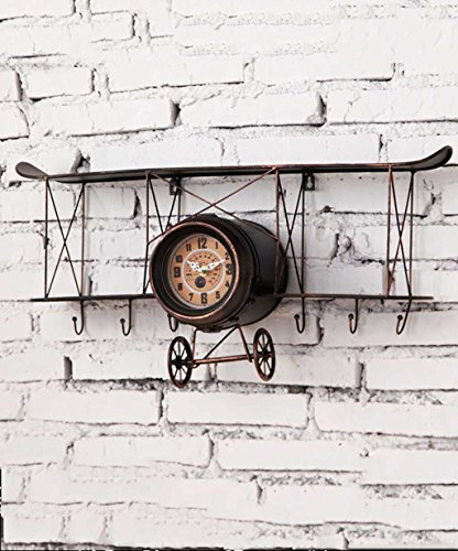 ZENGAI Rétro Créatif Le fer Modèle d'avion Ornements muraux Horloge murale Pour la chambre des enfants Couleur multiple (Couleur : Black-68*18*31cm)
