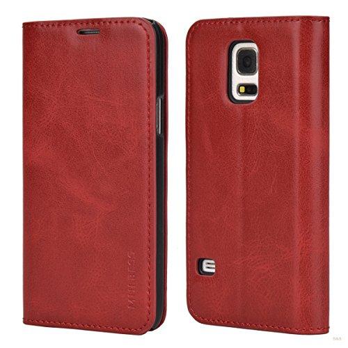Mulbess Cover per Samsung Galaxy S5 Mini, Custodia Pelle con Funzione Stand per Samsung Galaxy S5 Mini [Slim Case], Vino Rosso