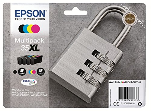 Epson 35 Serie Lucchetto, Cartuccia Originale Getto d'Inchiostro DURABrite Ultra, Formato XL, Multipack 4 Colori, con Amazon Dash Replenishment Ready