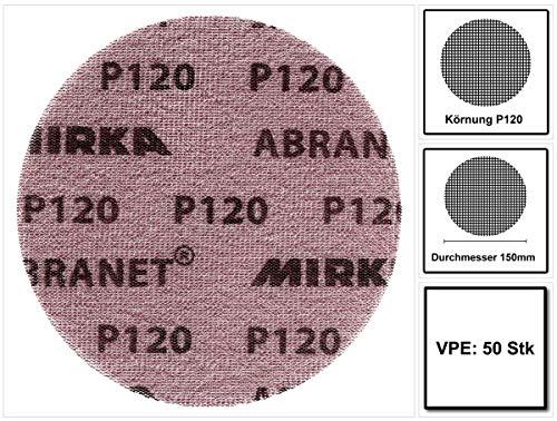 Mirka Abranet Netz-Schleifscheiben Ø 150 mm Klett / Korn P120 / 50 Stk / zum Schleifen von Holz, Spachtel, Lack, Kunststoff / 5424105012