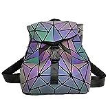 Parnerme Mochila mochila geométrica Lingge Mujer Luminoso Flash Hombre Bolsa de viaje Mochila escolar, Hológrafo para mujer Moda para mujer Mochila monedero(colorful-1)